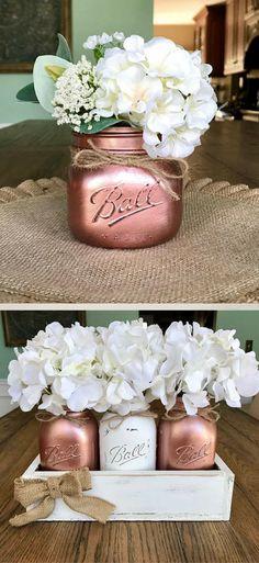 Blush Rose Gold table Decor - Metallic Mason jar decor - Rose Gold Decor - Mason jar table decor- mason jar centerpiece - Farmhouse decor - Rustic Home Decor #ad