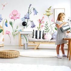 Prekrásna a obrovská nálepka lúčnych kvetov do romantickej detskej izby, alebo spálne. Room, Bedroom, Rooms, Rum, Peace