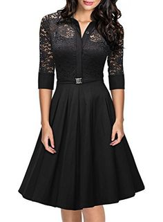 Missmay Womens Vintage 1950s Style 3/4 Sleeve Black Lace Flare A-line Dress