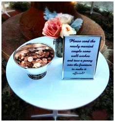 Pennies for guests to toss in the fountain sending well wishes to the Bride & Groom! Hopefully they all come true #wedding #wishes #wishingwell