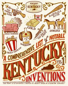 A Comprehensive List of Notable Kentucky Inventions. This print was invented and printed by Cricket Press in Lexington, Kentucky. Louisville Kentucky, Kentucky Derby, Kentucky Wildcats, Kentucky Girls, Kentucky Basketball, Gold Couch, Derby Day, Derby Time, My Old Kentucky Home
