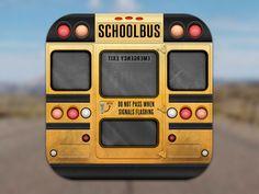 Schoolbus icon back  fun