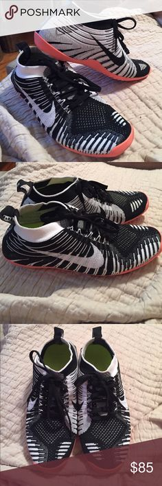 Nike Free Hyperfeel run size 6.5 EUC.. I wore these twice , these are in perfect condition , black and white with a peachy pink soul .. Super comfortable , made for running but great for workouts too ! Nike Shoes Sneakers