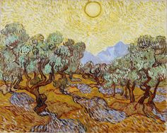 """""""Olive trees with yellow sky and sun"""" (St-Rémy, 1889) By Vincent van Gogh (Dutch, 1853-1890) © Minneapolis Institute of Art, Minnesota, US"""