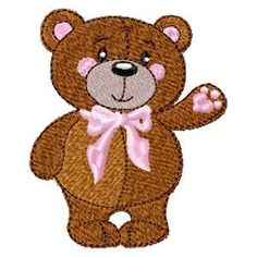 {Bear- Standing Teddy Bear w a Pink Bow- ZSBC050A K.H.}  click to download