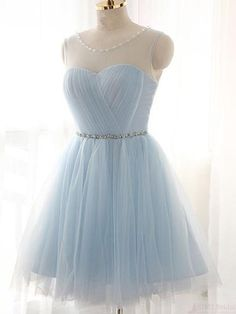 Baby Blue Short Tulle Homecoming Dresses Party Dresses  #SIMIBridal #homeocmingdresses