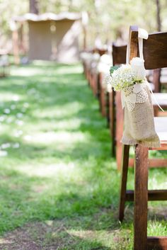 Ceremony decoration, burlap and lace bags to hold aisle decoration flowers