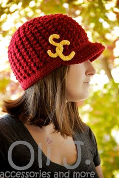 332e06380d6 Women s College-Themed Brimmed Beanie - Crimson w  Gold - Made to Order