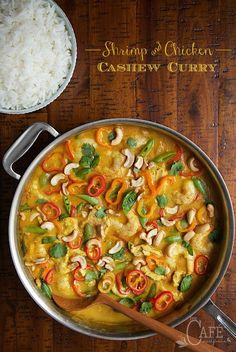 Shrimp and Chicken Cashew Curry - fresh, light and full of fabulous flavor, this curry is easy enough for every day dinner and fancy enough for your most special dinner party