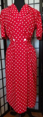 Red/White Rockabilly Polka Dot Pin Up Dress - Size 6, $60 includes shipping