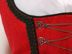 Vintage Dirndl mit Schürze, rot, Gr. 40