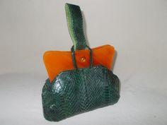 Rare vintage green snakeskin and bakelite frame purse 1940's by VintageHandbagDreams on Etsy