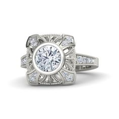 Vintage Inspired Round Diamond Platinum Ring with Diamonds Engagement Ring