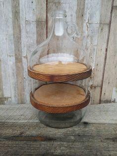 Folk art gallon jug cut into three sections with by TollBranchFarm