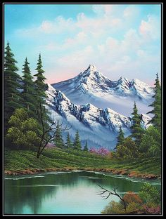 bob ross most popular paintings Bob Ross Paintings, Scenery Paintings, Mountain Paintings, Landscape Paintings, Acrylic Paintings, Painting Art, Painting Abstract, Art Paintings, Pinturas Bob Ross