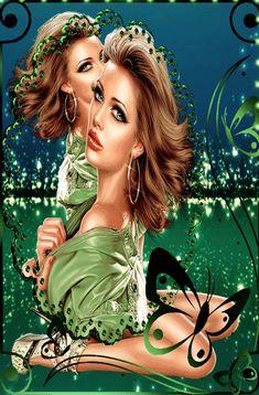 Beautiful Gif, Gorgeous Women, Portrait, Green Colors, Photo Art, Cinema, Fantasy, Face, Painting