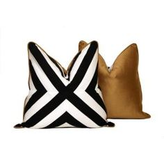 Add some style and drama with this 20 x 20 black and white patchwork X pattern throw pillow. The front striped fabric a cotton pattern print and the X White Throw Pillows, Down Pillows, Black Pillows, Accent Pillows, Luxury Cushions, Velvet Cushions, Pillow Forms, Striped Fabrics, Floor Design