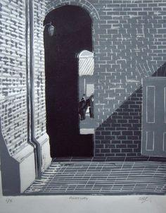 Alleyway, linocut