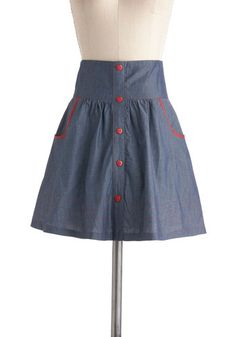Amour the Merrier Skirt, #ModCloth - denium with contrast piping and buttons.