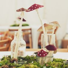 These. Are. Awesome. Big and little paper mushrooms perfect for table decorations at weddings, parties or for your mantle. So VERY easy to ...
