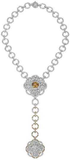 """Particulière"" #Necklace from #TalismansDeChanel - #Chanel - #FineJewellery collection in 18K white gold set with an 11.6 carat #BrilliantCut fancy dark yellow brown #Diamond, a 2.2 carat brilliant cut diamond, 83 brilliant-cut brown diamonds (total weight 2 carats) and 1129 brilliant cut #Diamonds for (total weight 23.7 carats) july 2015"