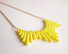 Yellow Necklace Beaded Necklace Yellow Everyday Necklace by bakkal