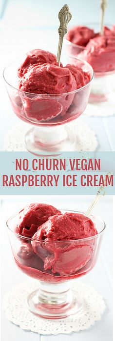 No Churn Vegan Raspberry Ice Cream recipe and step-by-step instructions on how to make homemade ice cream without an ice cream maker.