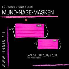 Bei UNDIS www.undis.eu gibt es jetzt auch MUND-NASEN-MASKEN im Partnerlook für Erwachsene und Kinder. Je Stück CHF 6,00 / € 6,00 (Versandkosten sind im Preis inkludiert) #undis #maskeauf #behelfsmaske #mundnasenmaske #mundmaske #gesichtsmaske #nähen #kreativ #bunt #maske #nachhaltigkeit #virus #maske #mundnasenschutz #deutschland #schweiz #österreich #maske #kinder #eltern #diy #partnerlook #bunt #gesundheit #mundnasemaske#noplastic #waschbar #pink #umweltfreundlich #unikat Bunt, Neon Signs, Kids, Sustainability, Switzerland, Parents, Masks, Germany