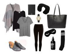 """""""Outfit for Long Haul Flight"""" by hollyapros on Polyvore featuring Free People, River Island, Yves Saint Laurent, La Garçonne Moderne, The Great, Boohoo, Kate Spade and Victorinox Swiss Army"""