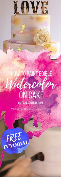 In this tutorial I demonstrate how to achieve a semi-blended watercolour look on your fondant cakes and how to then dress it up with edible...