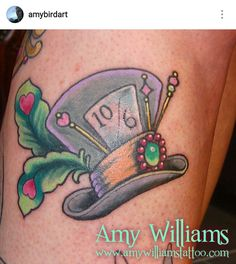 Alice in Wonderland mad hatter hat tattoo by Amy Williams