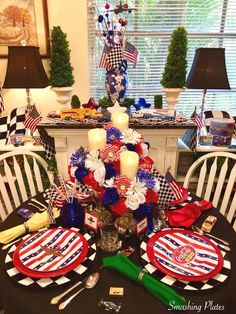 The Sunday before Memorial Day is always a day I spend in front of the TV watching motorsports. The day always starts with breakfast watch. Fourth Of July Decor, 4th Of July Party, Flameless Candles, Wedding Table Settings, Party Themes, Party Ideas, Veterans Day, Beach Themes