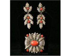 Edwardian Coral and Silver Pin and Earrings - c1900's
