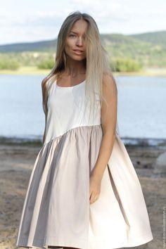 """Купить Платье свободного кроя """"Cappuccino"""" - бежевый, однотонный, цвет пудры…"""