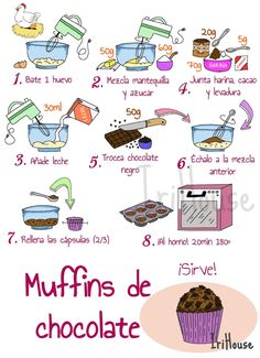 Cartoon Recipe, Pastel Cupcakes, Cake Mix Recipes, Pastry And Bakery, Food Journal, Chocolate Muffins, Sweet Cakes, Food Illustrations, Cute Food