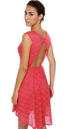 High-Low and Behold Coral Lace Dress