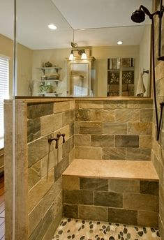 Small Bathroom Ideas With Shower Only instead of using tile in her bathroom, she decided to use pebbles
