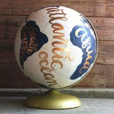 painted globe with calligraphy ... i would love to do this with a kickball!!!!