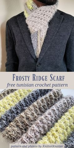Frosty Ridge Scarf - Free Pattern! - KnitterKnotter  A Tunisian crochet scarf that is super easy to make! It is made up of bulky weight yarn so it works up quickly too :)   #knitterknotter #crochetformen #unisex #tunisiancrochet #easycrochet #freepattern
