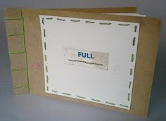 """Full"", Humble, recycled materials...repurposed cardboard, hemp cord, recycled paper, collage,  Side Stab Binding"