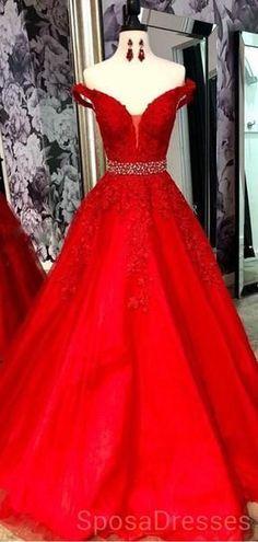 d64d8d887c4 Off Shoulder Red Lace Beaded Evening Prom Dresses