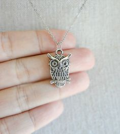 Small Silver Owl on a Branch Necklace by shopmirrormirror on Etsy