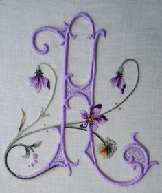 Elisabetta ricami a mano lilac floral monogram. Embroidery Letters, Silk Ribbon Embroidery, Cross Stitch Embroidery, Hand Embroidery, Machine Embroidery, Embroidery Designs, Alphabet, Ribbon Work, Monogram Design