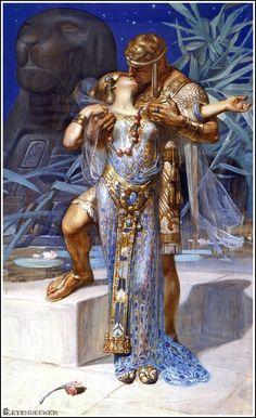 """""""Antoine et Cléopâtre"""", ilustração de 1902 criada por Joseph Christian Leyendecker para a revista """"Saturday Evening Post"""". Veja também: http://semioticas1.blogspot.com.br/2012/06/gostos-da-belle-epoque.html"""
