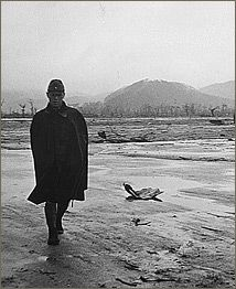 A Japanese soldier walks through the ruins of Hiroshima after the atomic bomb was dropped on the city.