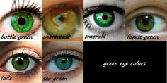 Green eye color reference chart. (10 points to anyone who can use these in a story without it looking like purple prose!)