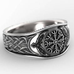 Sterling Silver Oden's Ravens & Helm of Awe Ring, Mens Wedding Band, Raven Jewelry, Odin Viking Ring, Custom Size 1160
