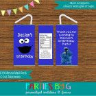 Cookie Monster Sesame Street Juice Box Wrappers Birthday Party Favors