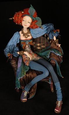 Doll Rina by Tamara Pivnyuk Clay Dolls, Bjd Dolls, Doll Toys, Toy Art, Arte Assemblage, Paperclay, Norman Rockwell, Ball Jointed Dolls, Doll Face