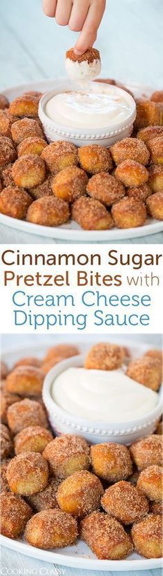 cream cheese pretzel bites rolled in cinnamon and sugar. to die for auntie anne's copy cat.